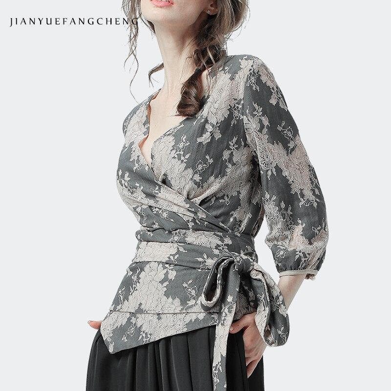Dentelle chemise Floral Blouse femme lanterne 9/10 manches avec croisé à lacets ceinture Cardigan été hauts Sexy Slim 2019 mode tunique
