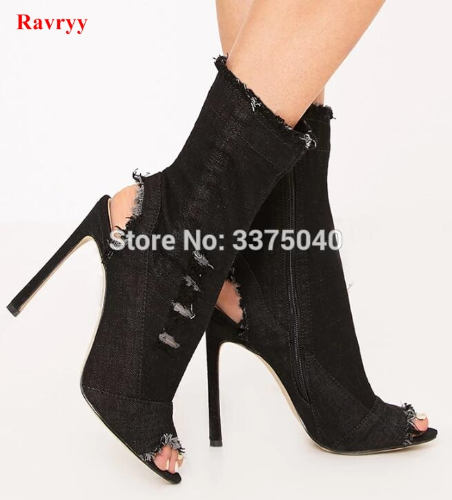 Ravryy Hot sale jeans boots summer shoes ankle boots for women boots denim boots high heels sexy peep-toe shoes woman Stiletto summer fashion shoes suede tassel stiletto high heels shoes peep toe lady ankle boots fringed lace up platform sandal boots