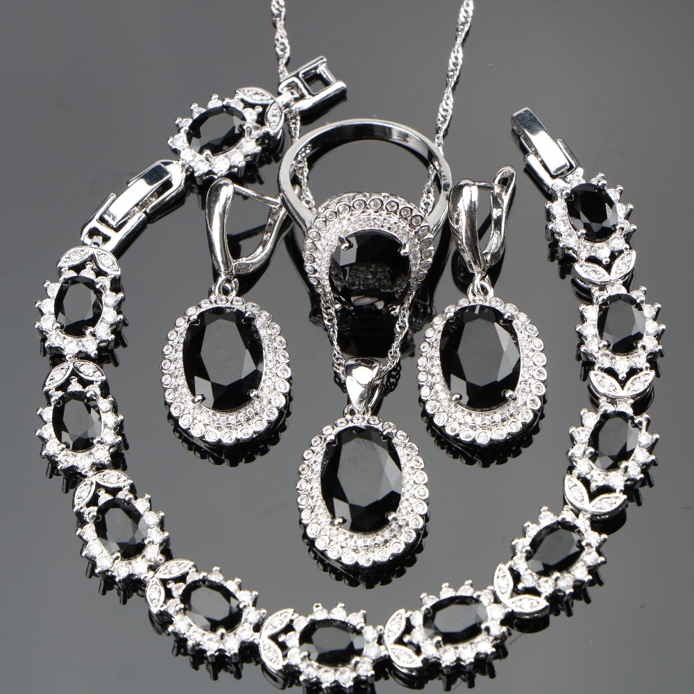 Black Stones Costume Silver 925 Ladies Jewelry Sets For Women White CZ Ring Size 6/7/8/9/10 Bracelet Length 18+2CM Free Gift Box gj303 rhinestones 316l stainless steel couple s ring black silver size 9 7 2 pcs