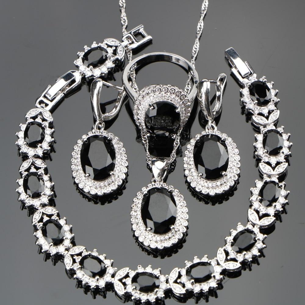 Black Stones Costume Silver 925 Ladies Jewelry Sets For Women White CZ Ring Size 6/7/8/9/10 Bracelet Length 18+2CM Free Gift Box детский дартс battlefield soft 7 2cm