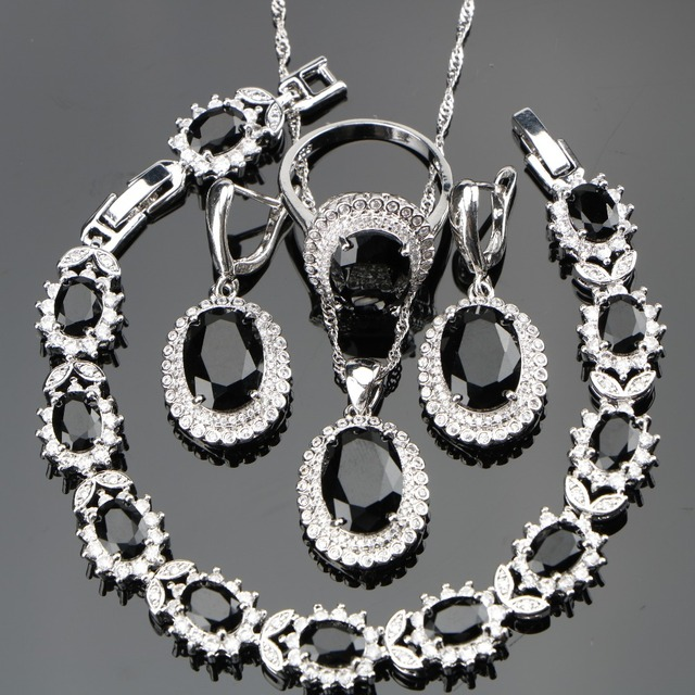 Black Stones Costume Silver 925 Ladies Jewelry Sets For Women White CZ Ring Size
