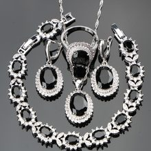 Black Stones Costume Silver 925 Ladies Jewelry Sets For Women White CZ Ring Size 6/7/8/9/10 Bracelet Length 18+2CM Free Gift Box(Hong Kong,China)