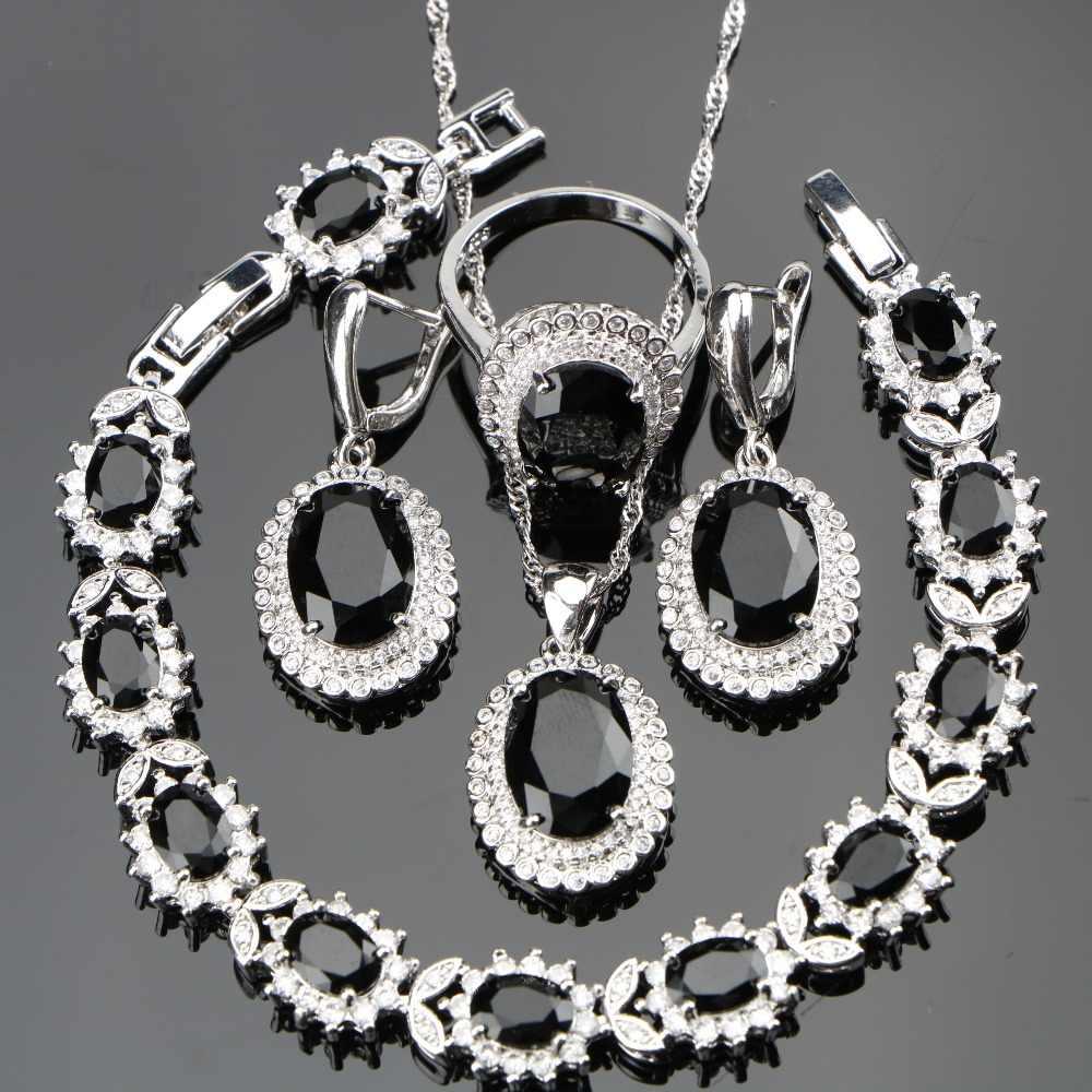 Schwarz Steine Kostüm Silber 925 Damen Schmuck Sets Für Frauen weiß CZ Ring Größe 6/7/8/9/10 Armband Länge 18 + 2 CM Freies geschenk Box