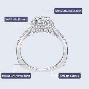 Image 5 - Newshe 2 個ハロー結婚指輪セットトレンディジュエリー 925 スターリングシルバー 1.6 ct ラウンド aaa cz の婚約指輪女性 1R0031