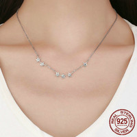 Authentic 925 Sterling Silver Necklace for Women Dazzling Zircon Stars Necklaces for Women 92.5% Silver Jewelry Gift