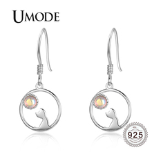 UMODE 2019 New 925 Sterling Silver Cat Drop Earrings for Women with Moonstone White Gold Jewelry Boucle D'oreille 2019 ALE0647