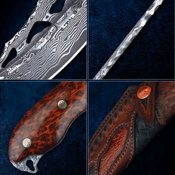 TUREN-Full Tang Damascus Steel Fixed Blade Knife Outdoor Hunting Tools Tactical Knives Carved leather Sheath 59-60HRC Collection