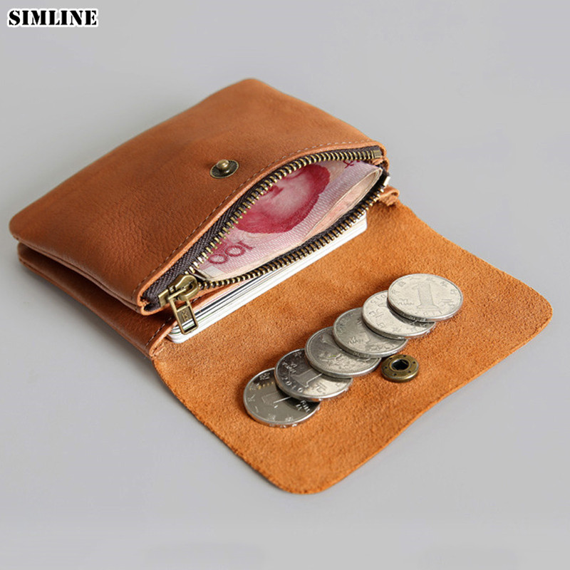 SIMLINE Genuine Leather Men Wallet Men's Women Vintage Short Small Mini Wallets Coin Purse Card Holder Zipper Pocket Carteira недорго, оригинальная цена