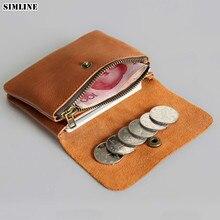 SIMLINE Genuine Leather Men Wallet Men's Women Vintage Short