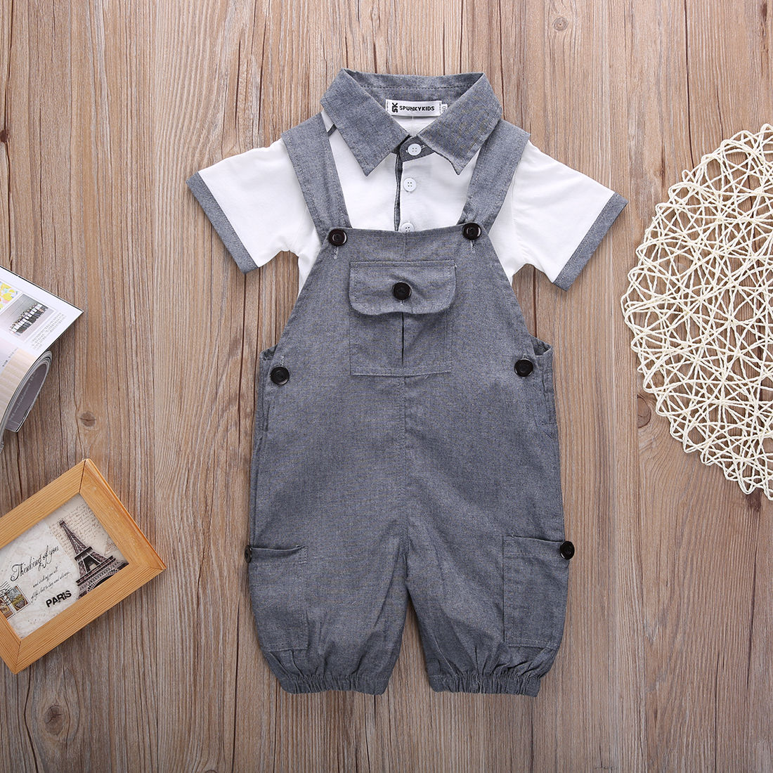 4ffe550f9858 Pudcoco Infant Clothing Baby Boys T shirt and Dungaree Shorts 2 ...