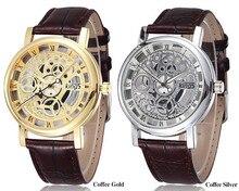 Роскошные Марка королей золото и серебро полые Скелет кожа часы Для женщин Для мужчин Военно-спортивный кварцевые наручные часы