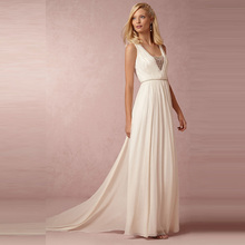 Summer Style Bohemian Wedding Dress Chiffon Ivory Beach Party Dress For Brides Sheer Back Neckline Rhinestones Back Cap Sleeves