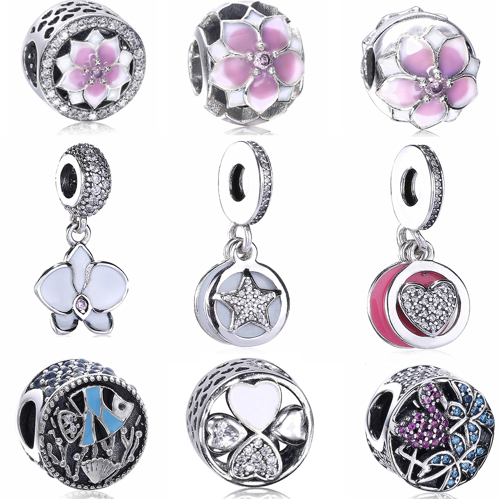 Moonmory Magnolia Bloom S925 Sterling Silver Charm Clip Pendant  Orchid Dangle Fish Coral Bead Fit Pandora Bracelet DIY