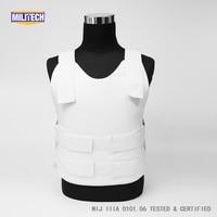 Militech White NIJ IIIA 3A and Level 1 Stab Concealable Twaron Aramid Bulletproof Vest Covert Ballistic Bullet Proof Vest