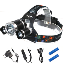 2017 New XML 3T6 LED Headlamp 8000 Lumens 4 Modes Rechargeable LED Headlight Frontal Lanterna Europe Hot Sale Head Torch Set