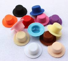 50pcs/lot Hen Party Felt Short Plush Mini Top Hat Fascinator Base Blanks 4cm hair accessories Newborn Photography