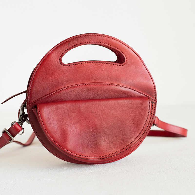 c95d1d82b3a0 ... Woonam из натуральной телячьей кожи сумка Для женщин модные креативные  маленькие круглые сумка через плечо Сумочка