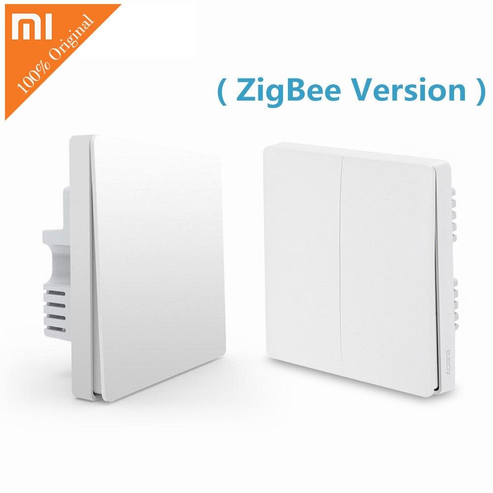 Original Xiaomi QBKG04LM Aqara Inteligente Interruptor de Parede Luz Versão Chave Dupla Smartphone APP ZigBee Casa Inteligente Dispositivo de Controle Remoto