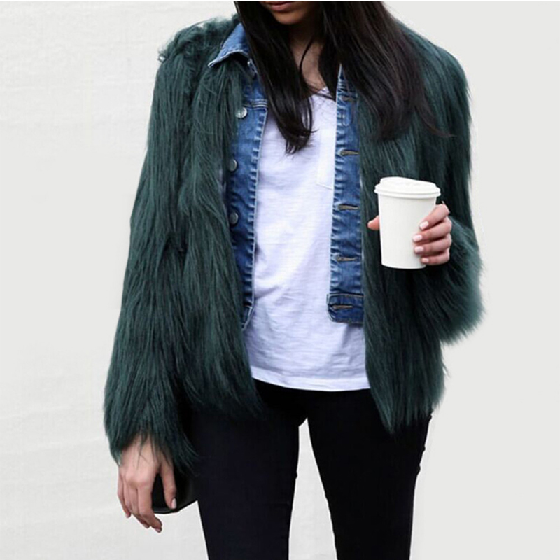 2019 Ženy Černé nadýchané umělé kožešiny Kabáty Bílé Falešné kožichy Ženy Zimní teplý kabát Dámské svrchní oděvy PC111