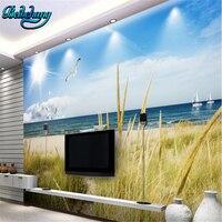 beibehang Blue sky white clouds beach grass sea view 3D TV background wall custom lounge sofa wallpaper murals