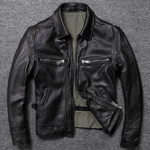 Free shipping.sales gift Brand new men cowhide coat.quality thick men's genuine Leather jacket.vintage style man leather clothes 4