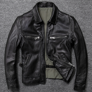Image 2 - Free shipping.sales gift Brand new men cowhide coat.winter warm mens genuine Leather jacket.vintage style man leather clothes