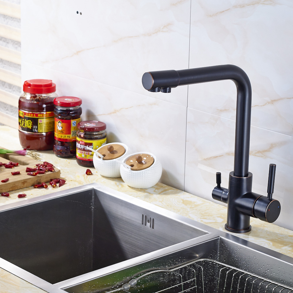 Dual Handles Solid Brass Kitchen Sink Faucet Mixer Dual Handles Deck Mounted Tap chrome kitchen sink faucet solid brass spring two spouts deck mount kitchen mixer tap