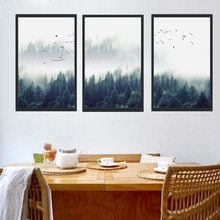 3pcs/lot Nordic Fog Forest Birds Landscape Canvas Painting Poster Print Wall Art Picture for Living Room Home Artwork Decor(China)