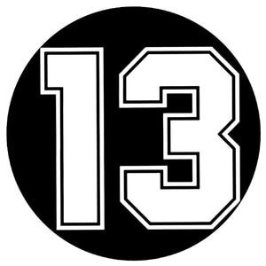CK2716#18*18cm Number 13 funny car sticker vinyl decal silver/black car auto stickers for car bumper window car decorations