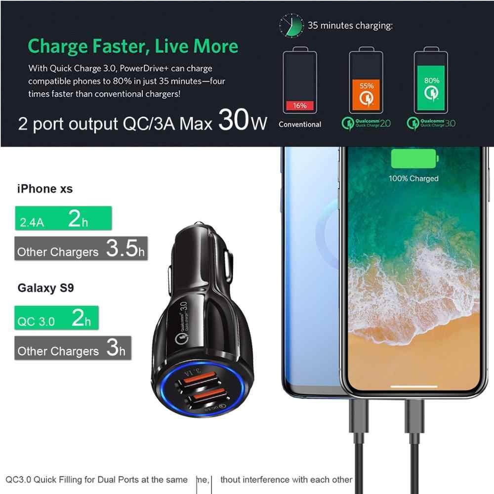 30 Вт QC3.0 автомобиля Зарядное устройство, быстрая зарядка 3,0 сотовый телефон Зарядное устройство 2 Порты и разъёмы для iPhone/ipad samsung huawei xiaomi быстрое зарядное устройство для автомобильного и 3A кабель