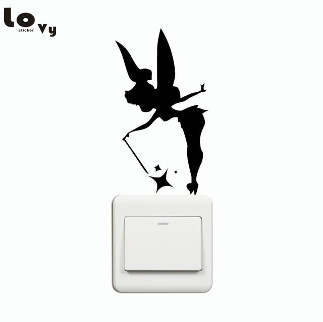 Creative Fairy Silhouette Light Switch Sticker Cartoon Vinyl Wall Stickers for Kids Room Home Decor