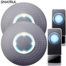 SMATRUL Waterproof Wireless Doorbell EU Plug 300M Remote home smart Door Bell ring call chime 2 button 2 receiver LED light Deaf