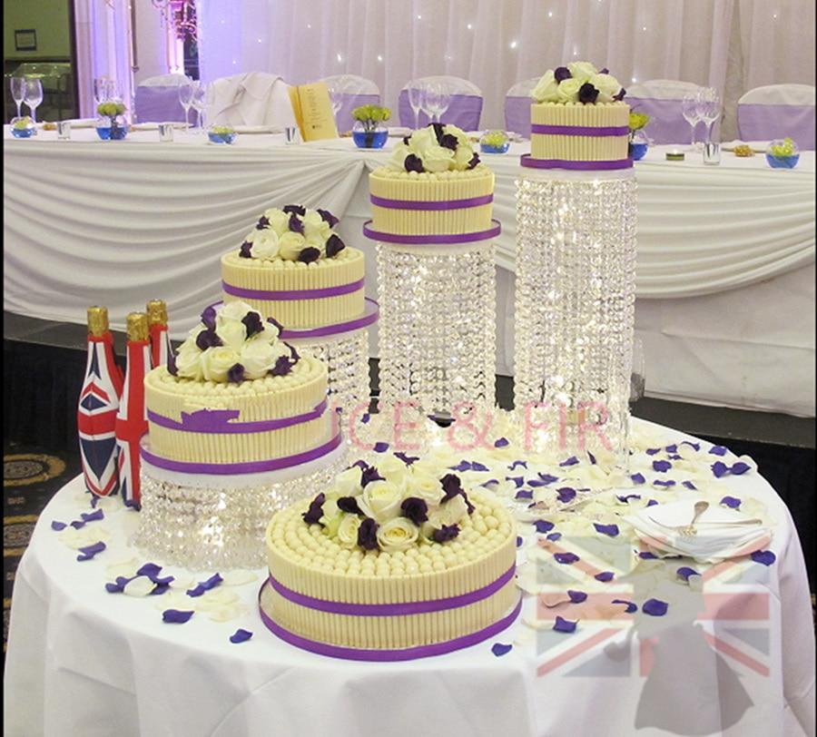 5PCS / SET Svatební dort stojí transparentní Crystal Centerpieces narozeninové party dodávky