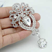 Broches de diamantes de imitación para mujer LNRRABC corona de cristal gran flor broche de novia broche de boda joyería de moda broches de decoración