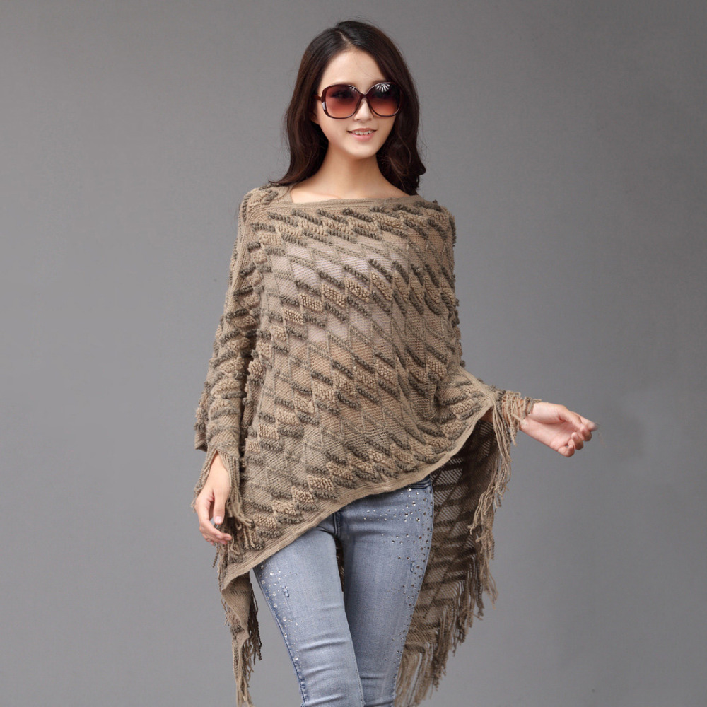 ladies KNITTED PONCHO capes women shawls for spring summer ...
