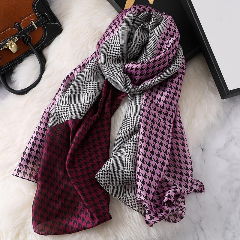 Mode Seide Schal Für Frauen Klassische Plaid Luxus Marke Schals Sommer Lange Bandana Strand Handtuch Schal und Wrap Famle 90*180 cm