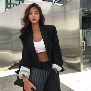 HziriP 2020 Elegant Black Single-breasted Women Blazer Fashion Vintage Solid Loose Work Wear Tops Outerwear Female Jacket