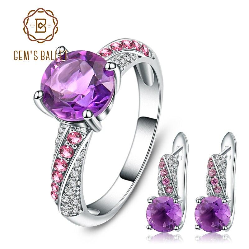GEM S BALLET Natural Amethyst Gemstone Jewelry Set 925 Sterling Silver Earrings Ring Set For Women