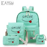 EAYIN 4Pcs/Set Korean Women Bag Canvas Backpacks Cute Smile Print School Bags for Teenagers Backpacks for Teenage Girls Mochila