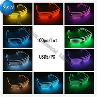 100pc/Lot Top Quality el glasses El Wire Fashion Neon LED Light Up Shutter Shaped Glasses Rave Costume Party