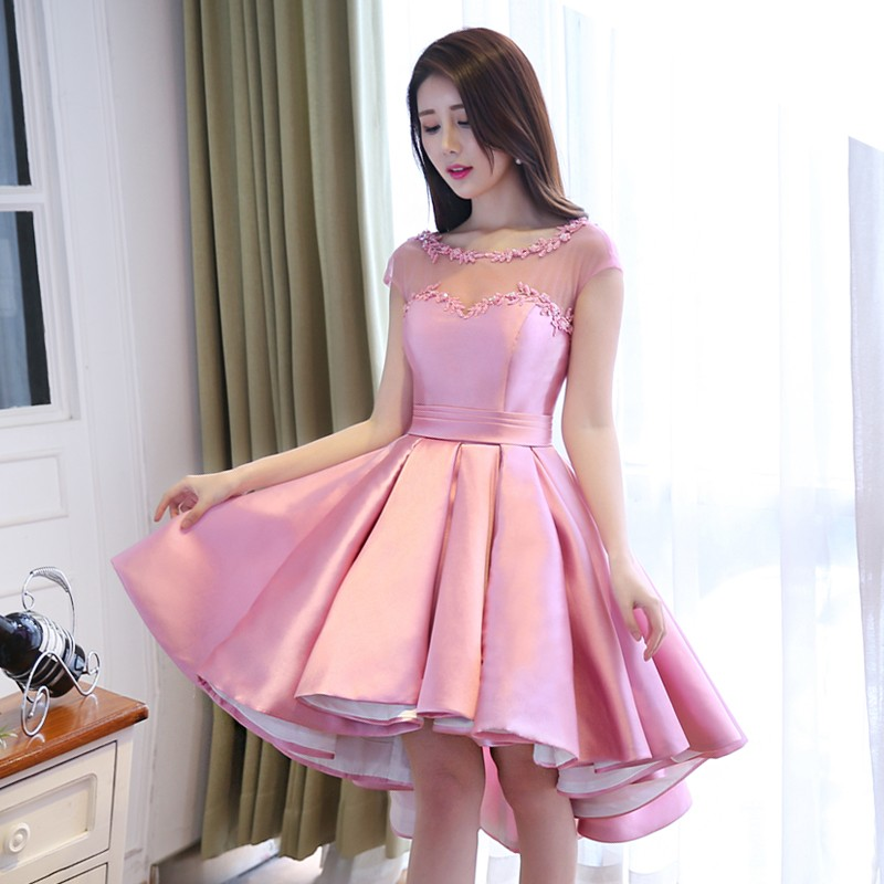 robe-de-soiree-Pink-Satin-Ball-Gown-High-Low-Arabic-Evening-Dresses-2016-Front-Short-Long (3)