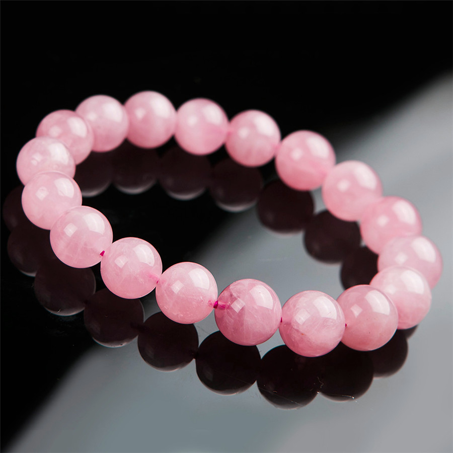 11mm Madagascar Natural Quartz Bracelets For Women Deep Pink Round Crystal Beads Stretch Charm Bracelet Femme Aaa In Strand From Jewelry