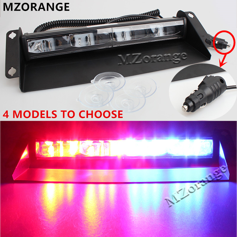 Universal 12 leds 24v 36W Car Warning Light Red Blue White Truck Flash Light Police Strobe Light Dash Windshield Emergency Light