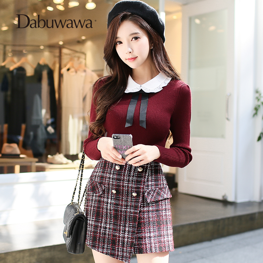 Dabuwawa Red Autumn Winter Long Sleeve Bow Tie Sweaters Elegant Women Pullovers Christmas Vintage Knitted Sweater