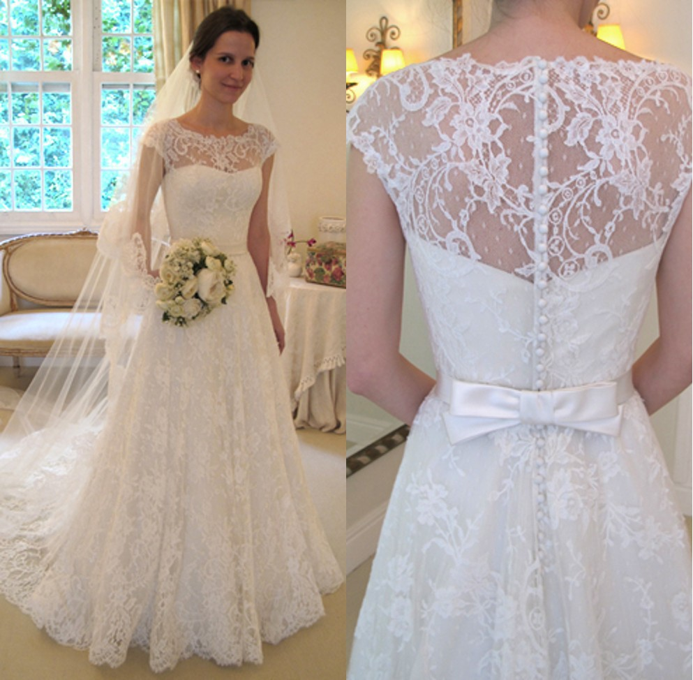 Gowns children picture more detailed picture about custom made custom made wanda borges wedding dresses cap sleeve illusion neckline lace covered back bridal gown vestido ombrellifo Images