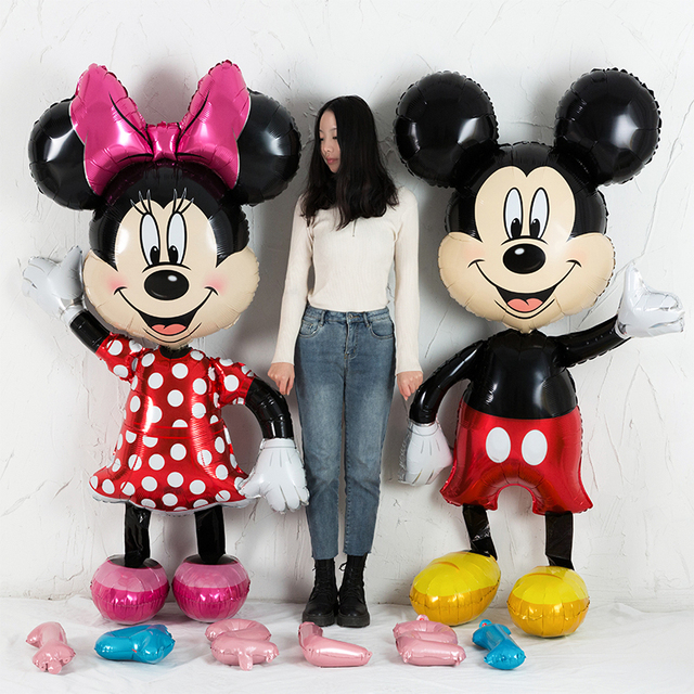 Globos de papel de aluminio Mickey minnie 1st decoraciones para fiesta de cumpleaños niños globo número 1 globos dot latex niños ducha de bebé de juguete Niña