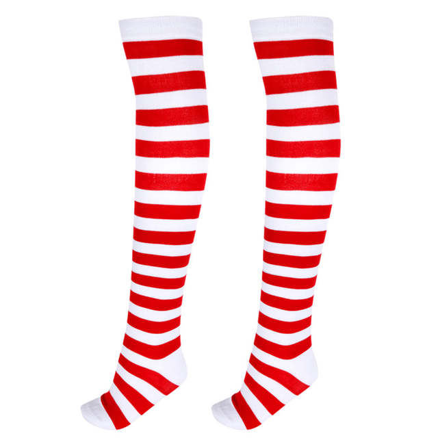 15664d31cab Online Shop 1 Pair Women Girls Christmas Striped Over Knee Stockings  Fashion Stripe Over Knee Socks Long Cotton Stripy Thigh High Stockings