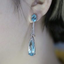 Fashion Acid Blue Water Drop Crystal Earrings for Women Hallowing out Drop Earrings Dropshipping a suit of gorgeous faux crystal water drop necklace and earrings for women