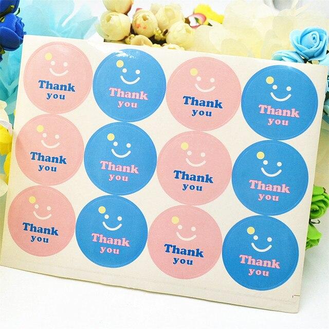 120pcs kawaii smile series pink blue circular adhesive seal sticker