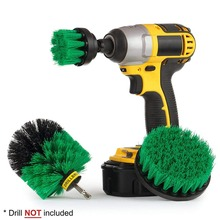 3PCS Pack Tile Grout Cordless Power Scrubber Drill Cleaning Brush Attachment Tub Cleaner Combo Kit Tool